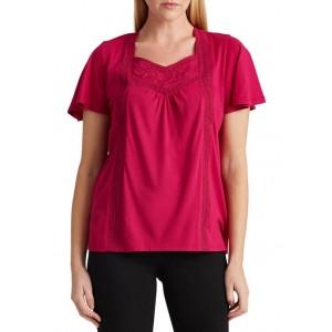 Lauren Ralph Lauren Jersey Flutter-Sleeve Top