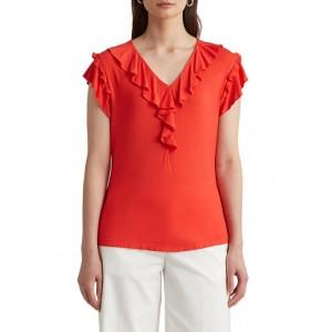 Lauren Ralph Lauren Women's Ruffle Trim Jersey Top