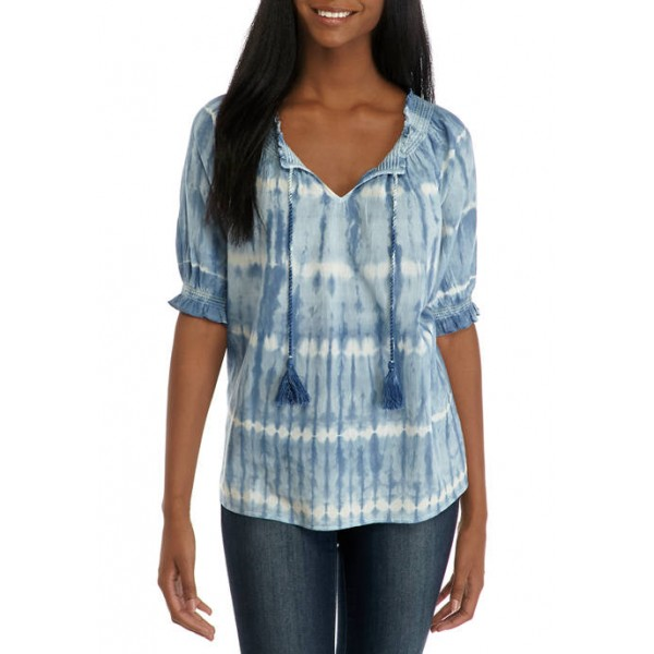 New Directions® Women's Embellished Puff Sleeve Peasant Top
