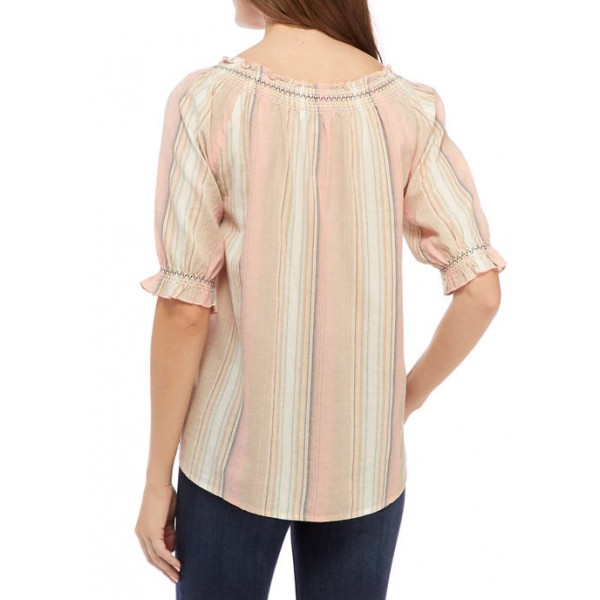 New Directions® Women's Embroidered Puff Sleeve Peasant Top