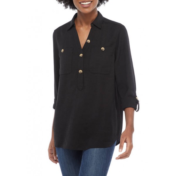 New Directions® Women's Long Sleeve Air Flow Popover Top