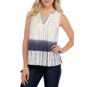 New Directions® Women's Novelty Split Neck Popover Shirt