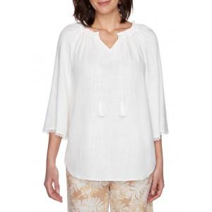 Ruby Rd Women's Golden Hour Light Weight Solid Laundered Linen Top