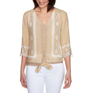 Ruby Rd Women's Golden Hour Silky Snake Printed Button-Front Top