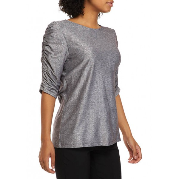 THE LIMITED Women's Elbow Puff Sleeve Knit Top