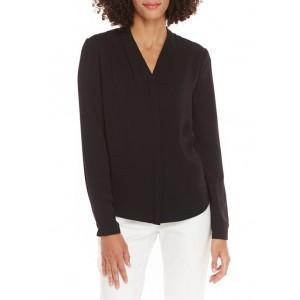 THE LIMITED Women's Long Sleeve Hidden Placket V Neck Top