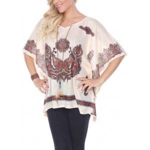 White Mark Printed Poncho with Split Neckline and Tassel Ties