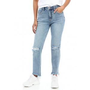 Wonderly Junior's High Rise Distressed Straight Leg Jeans