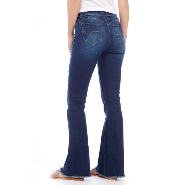YMI Junior's Repreve Destructed Flare Denim Jeans