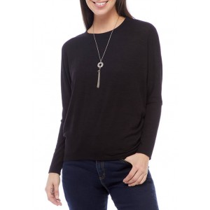 A. Byer Junior's Hacci Dolman Sleeve Top with Necklace
