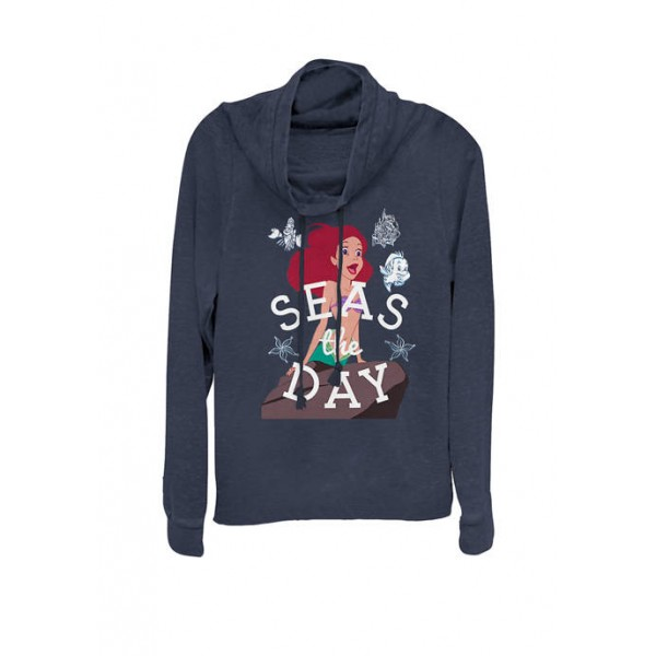 Disney® The Little Mermaid Ariel Seas The Day Cowl Neck Graphic Pullover