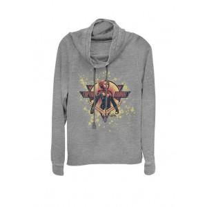 Marvel™ Captain Cracked Paint Splatter Logo Cowl Neck Graphic Pullover