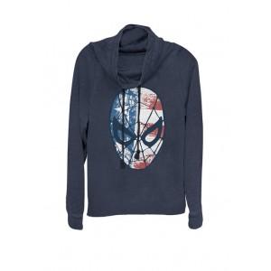 Marvel™ Spider-Man American Flag Face Vintage Cowl Neck Graphic Pullover