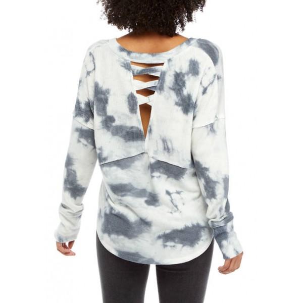 TRUE CRAFT Soft Shop Cross Back Knit Tie Dye Shirt
