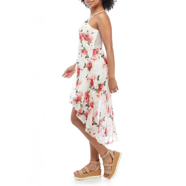 Almost Famous Junior's Spaghetti Strap High Low Lace Back Dress