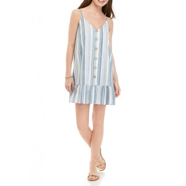 As U Wish Junior's Spaghetti Strap Stripe Button Linen Dress