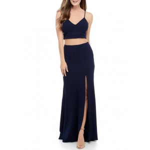 B. Darlin Women's 2 Piece Lace Back Crepe Gown