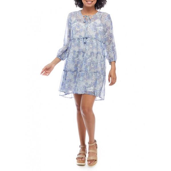BeBop Junior's Blouson Sleeve Printed Babydoll Dress