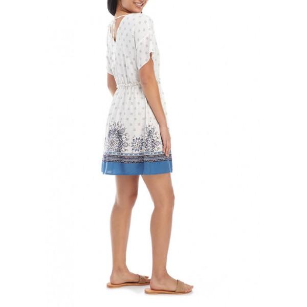 BeBop Junior's Short Sleeve V-Neck Tie Waist Dress
