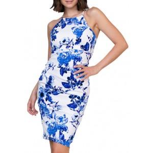 Jump Women's Floral Printed Halter Neck Midi Dress