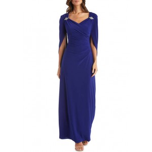 R & M Richards 1 Piece Drape Back Sleeves Sweetheart Pinched Front Dress