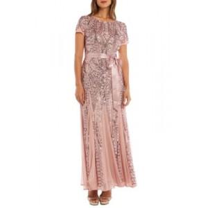 R & M Richards Short Sleeve Beaded Long Gown