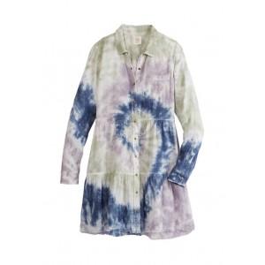 TRUE CRAFT Long Sleeve Tiered Tie Dye Dress