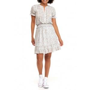 Wonderly Junior's Smock Waist Mixed Print Dress