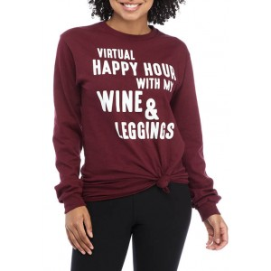 Cold Crush Junior's Long Sleeve Virtual Happy Hour Tie Front Graphic T-Shirt