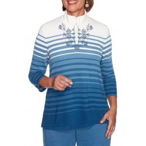 Alfred Dunner Women's Long Weekend Ombré Stripe Top