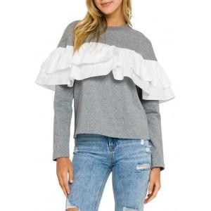 ENGLISH FACTORY Women's Ruffle Detail Sweatshirt