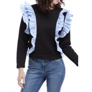 ENGLISH FACTORY Women's Striped Ruffle Sweatshirt