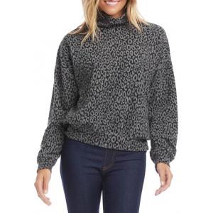 Karen Kane Women's Cheetah Jacquard Mock Neck Top