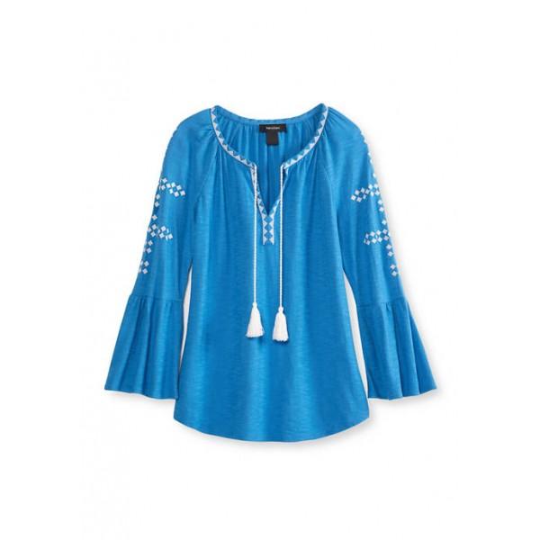 Karen Kane Women's Embroidered Bell Sleeve Top