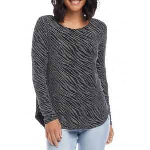 Karen Kane Women's Zebra Metallic Shirttail Knit Top