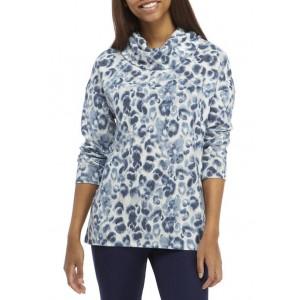 New Directions® Studio Women's Hacci Cowl Neck Printed Pullover