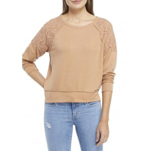 New Directions® Studio Women's Long Sleeve Lace Inset Top
