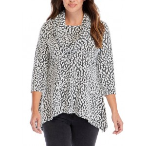 New Directions® Women's Animal Hacci Cowl Neck Top
