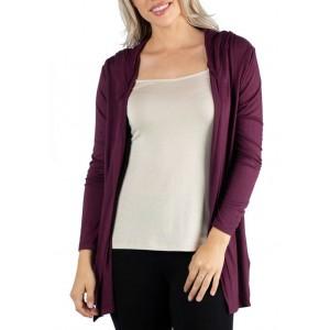 24seven Comfort Apparel Women's Long Sleeve Pocket Hoodie Cardigan