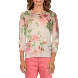 Alfred Dunner Women's Springtime in Paris Floral Sweater