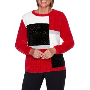 Alfred Dunner Women's Worth Avenue Chenille Colorblock Sweater