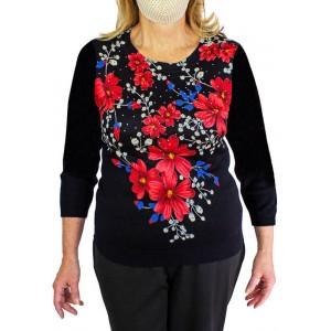 EMILY DANIELS Women's Heatset Printed Floral Sweater
