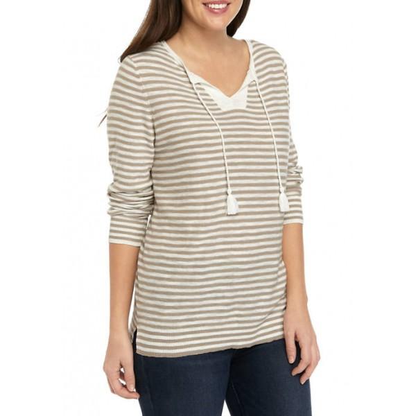 Kim Rogers® Women's Long Sleeve Popover Tassel Stripe Sweater