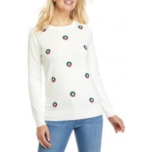 Kim Rogers® Wreath Intarsia Sweater