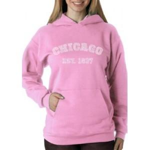 LA Pop Art Word Art Hooded Sweatshirt - Chicago 1837
