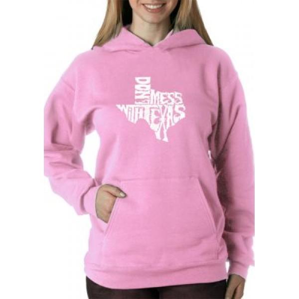 LA Pop Art Word Art Hooded Sweatshirt - Don't Mess with Texas