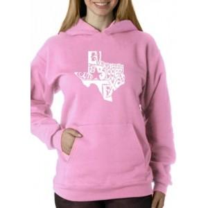 LA Pop Art Word Art Hooded Sweatshirt -Everything is Bigger in Texas