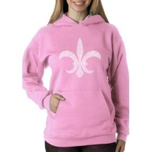 LA Pop Art Word Art Hooded Sweatshirt- Fleur De Lis- Popular Louisiana Cities