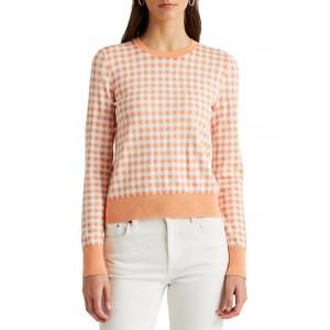 Lauren Ralph Lauren Women's Gingham Cotton Modal Sweater