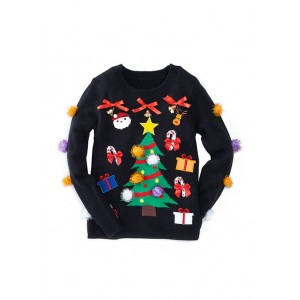 MERRY Wear Women's Christmas Tree with Ornaments Sweater